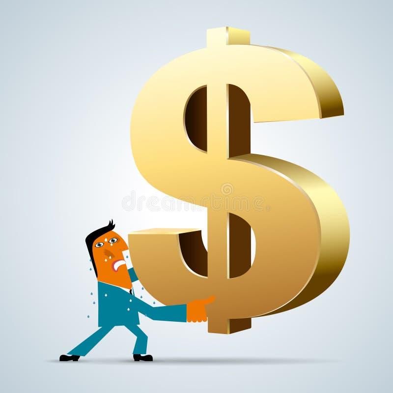 Progettazione commercializzante, uomo d'affari che ostacola simbolo di dollaro illustrazione vettoriale