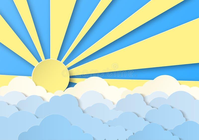 Progettazione con i cumuli nel cielo di giorno Sole luminoso con gli ampi raggi Progettazione tagliata di carta per le carte, inv illustrazione di stock