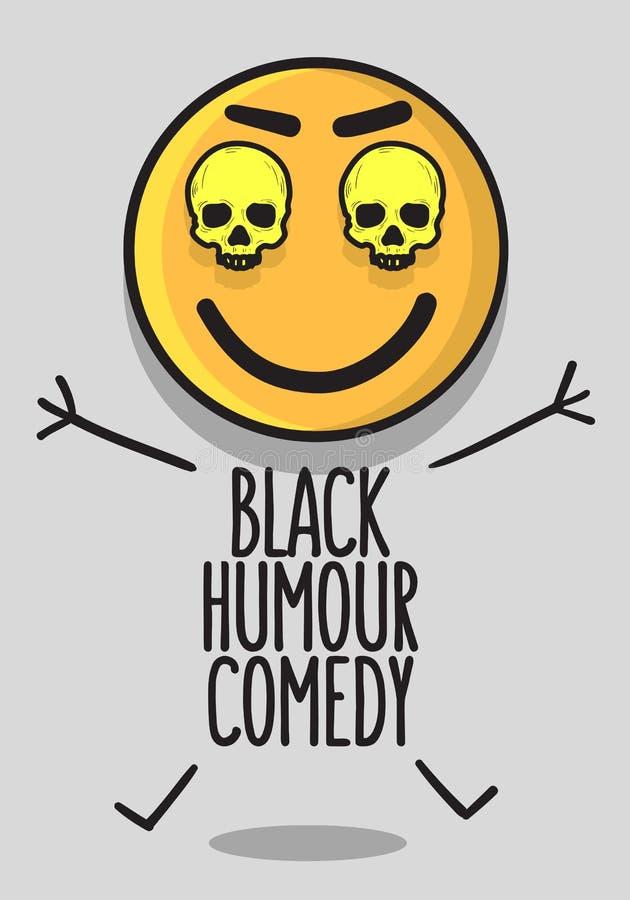 Progettazione concettuale del manifesto della commedia di umore nero con A immagine di risata sorridente di vettore dei crani e d illustrazione vettoriale