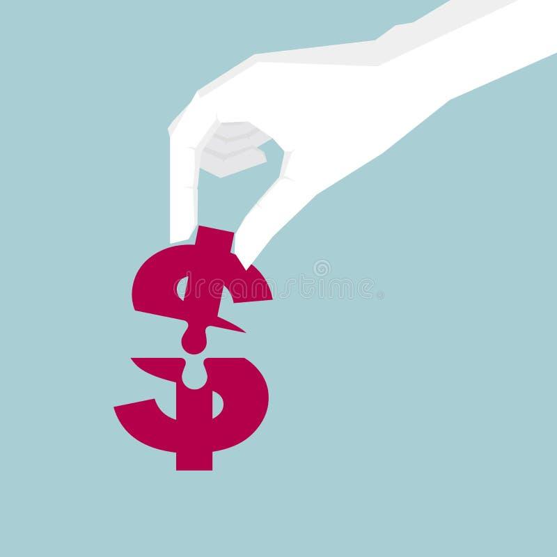 Progettazione concettuale, puzzle della tenuta della mano, simbolo di dollaro della composizione royalty illustrazione gratis