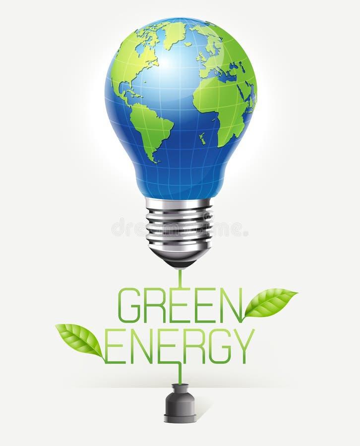 Progettazione concettuale verde di energia Vettore di forma del globo del mondo della lampadina royalty illustrazione gratis