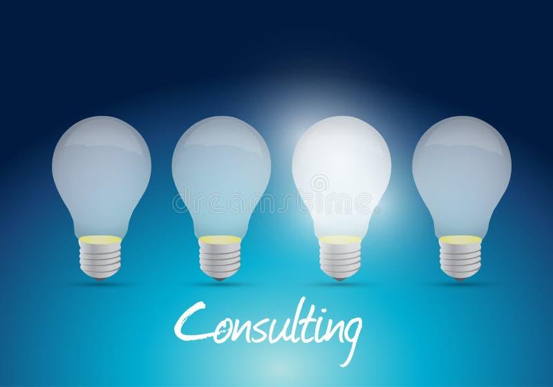 Progettazione consultantesi dell'illustrazione del messaggio della lampadina illustrazione di stock