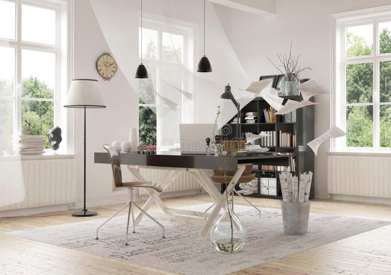 Progettazione contemporanea di area di lavoro dentro una casa royalty illustrazione gratis