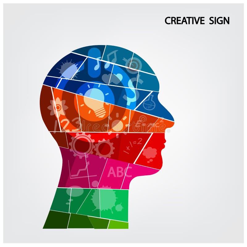Progettazione creativa del fondo della testa della siluetta illustrazione di stock