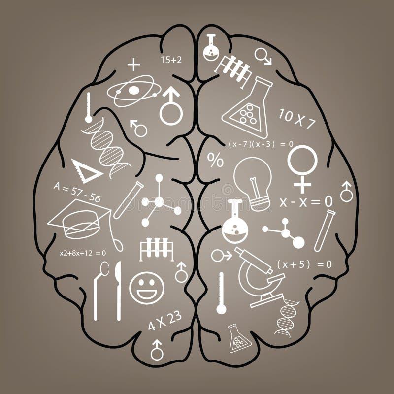 Progettazione creativa del fondo di concetto di idea del cervello illustrazione vettoriale