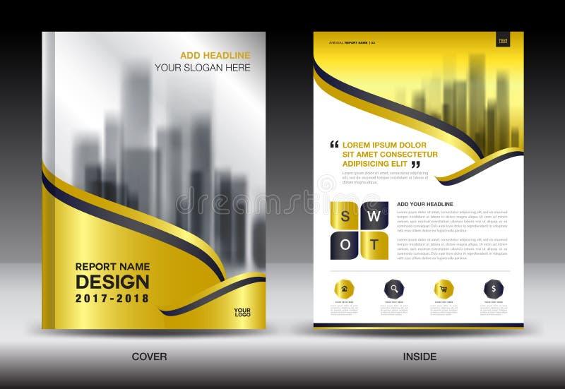 Progettazione creativa del modello dell'aletta di filatoio dell'opuscolo del rapporto annuale della copertura dell'oro illustrazione vettoriale
