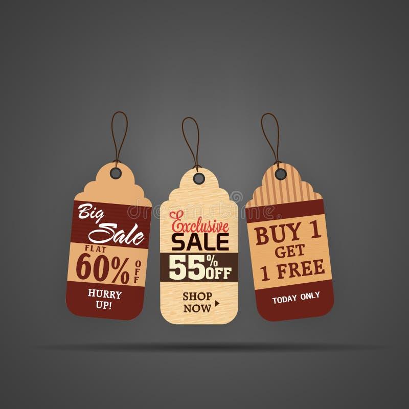 Progettazione creativa dell'etichetta o dell'etichetta di vendita illustrazione di stock