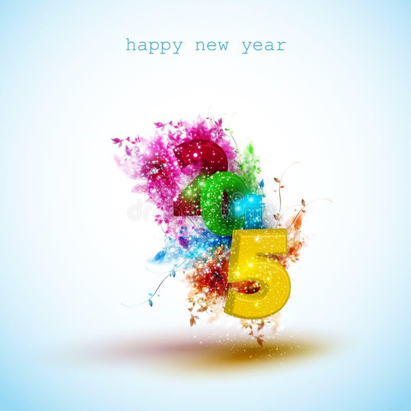 Progettazione creativa della cartolina d'auguri del nuovo anno 2015 royalty illustrazione gratis