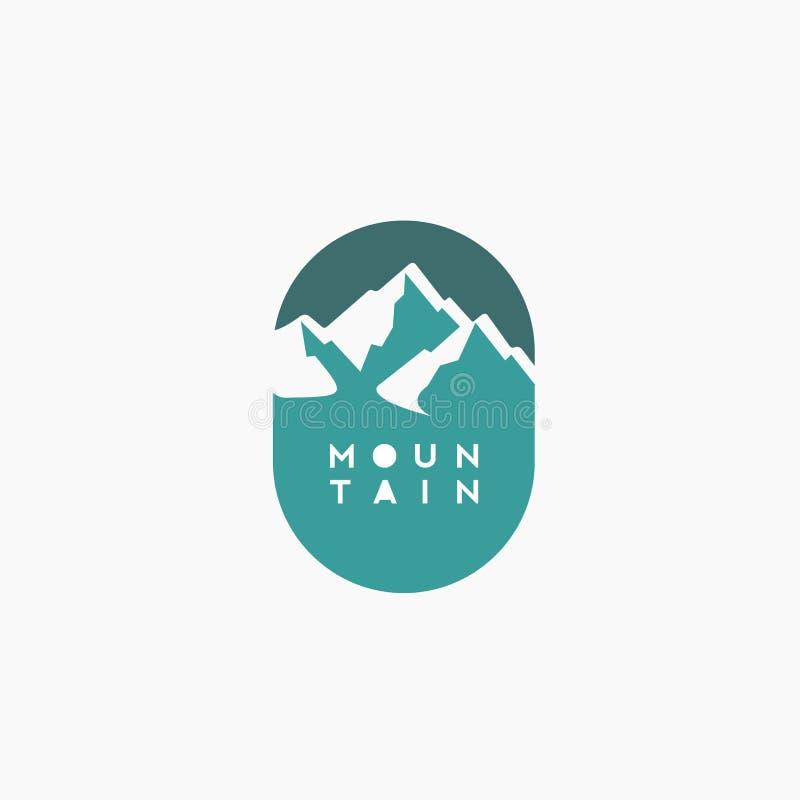 Progettazione creativa di logo della montagna con topografia royalty illustrazione gratis