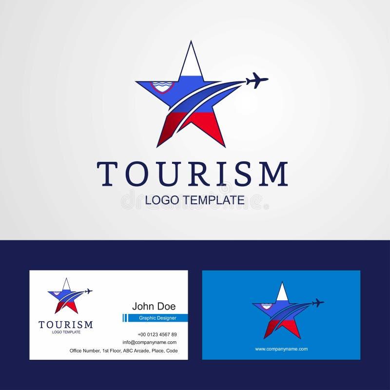 Progettazione creativa di logo e di biglietto da visita della stella della bandiera della Slovenia di viaggio illustrazione vettoriale