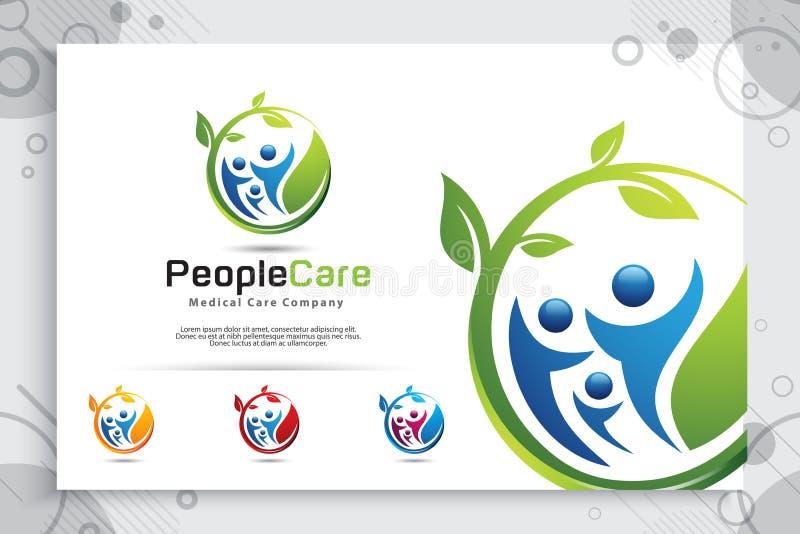 Progettazione creativa di logo di vettore della gente della foglia con il concetto moderno della folla, la gente dell'illustrazio illustrazione di stock