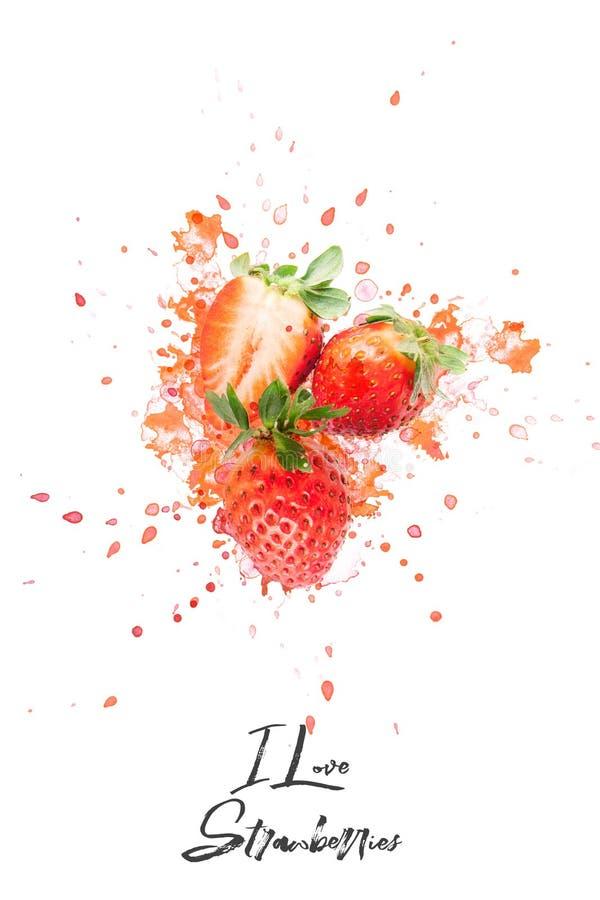 Progettazione creativa fatta delle fragole Disposizione piana Concetto dell'alimento Macro concetto fotografia stock libera da diritti