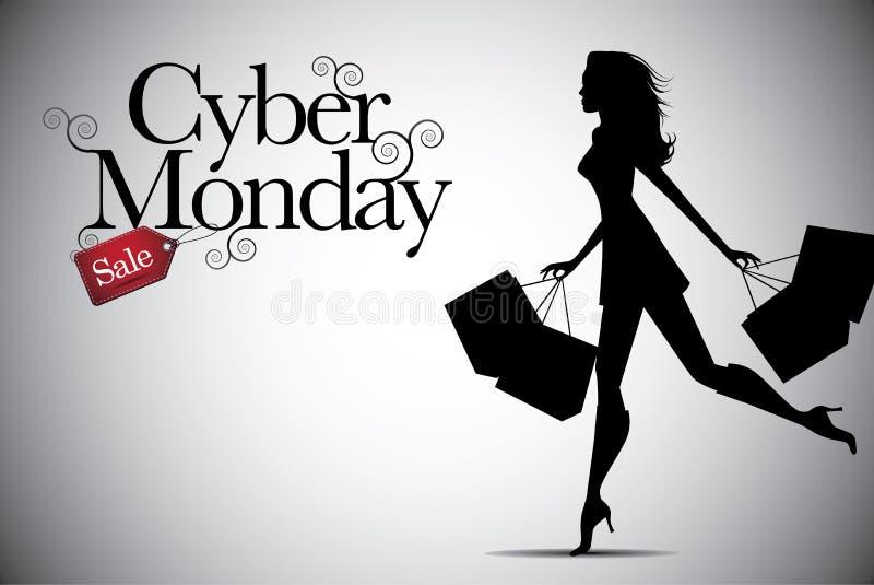 Progettazione cyber del fondo di vendita di lunedì con lo spazio della copia illustrazione vettoriale