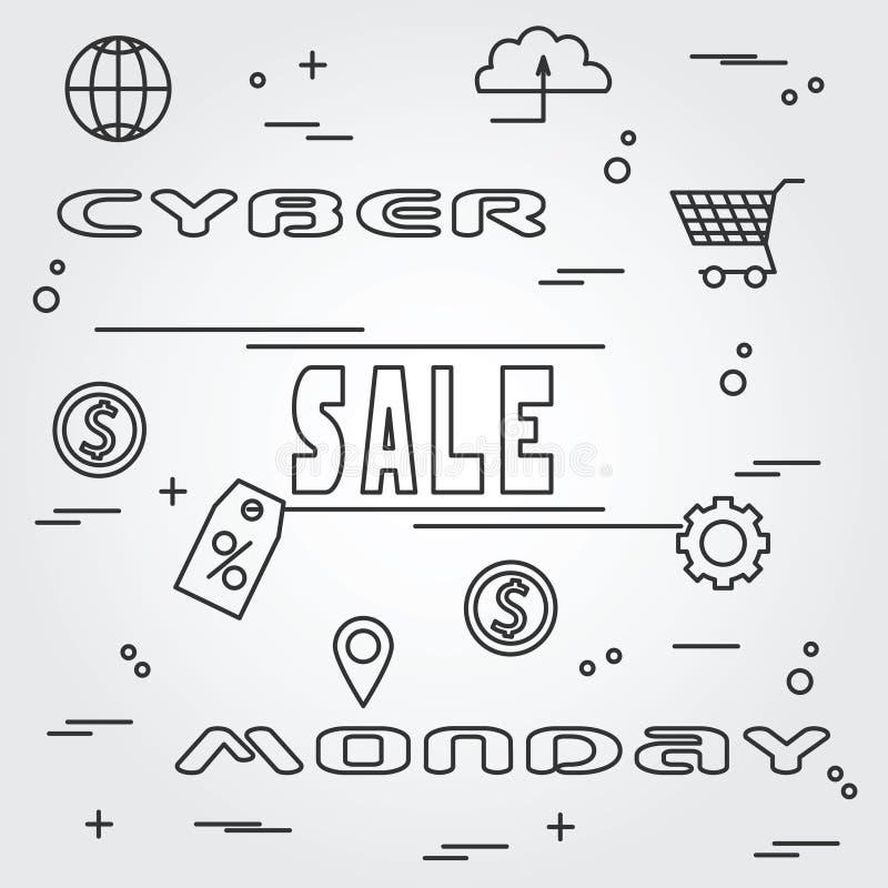 Progettazione cyber di lunedì Illustrazione EPS10 di vettore illustrazione di stock