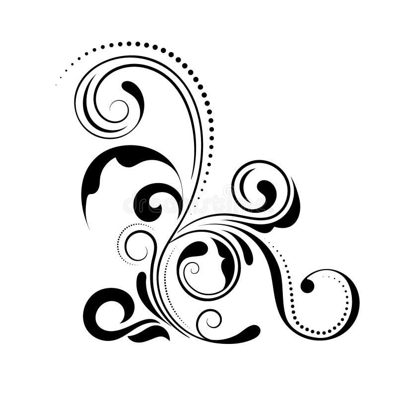 Progettazione d'angolo floreale Ornamento di turbinio isolato su fondo bianco - vector l'illustrazione Confine decorativo con la  royalty illustrazione gratis