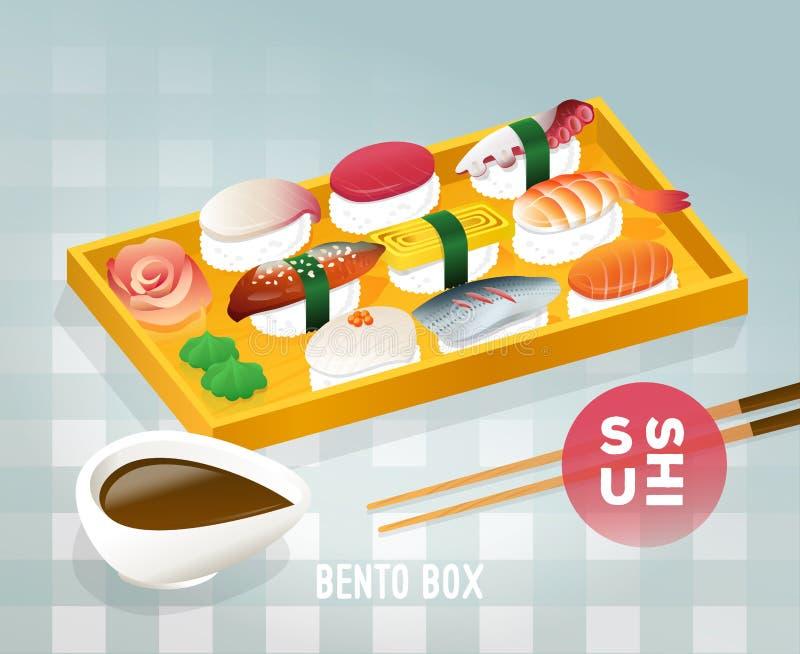 Progettazione d'annata del manifesto dell'alimento giapponese di bento illustrazione di stock