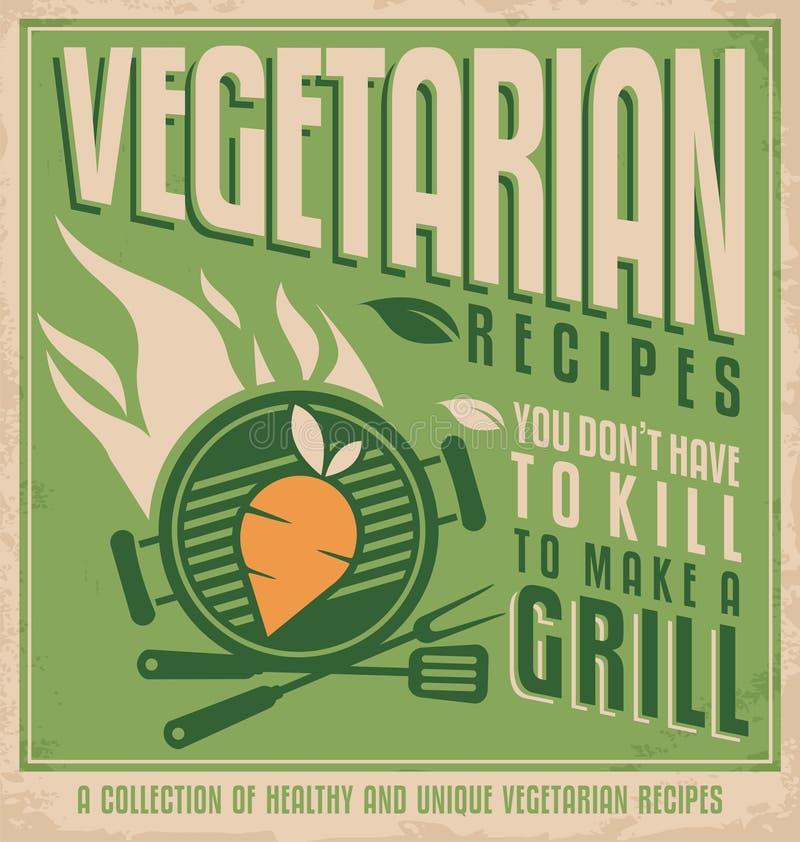 Progettazione d'annata del manifesto dell'alimento vegetariano illustrazione di stock