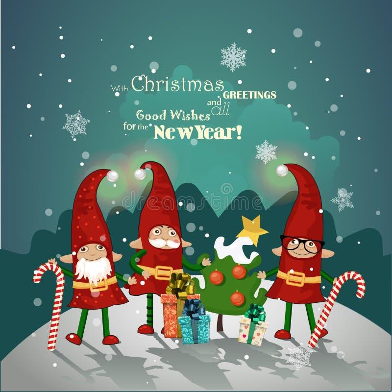 Progettazione d'annata del manifesto di Natale con gli elfi di Natale illustrazione vettoriale