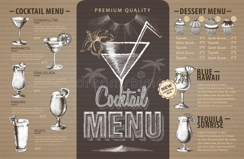 Progettazione d'annata del menu del cocktail su cartone illustrazione di stock