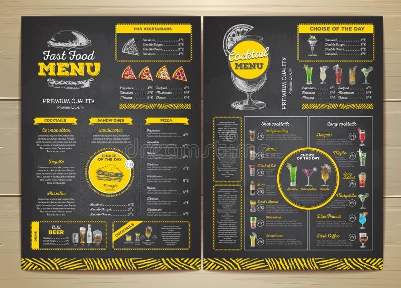 Progettazione d'annata del menu degli alimenti a rapida preparazione del disegno di gesso illustrazione vettoriale
