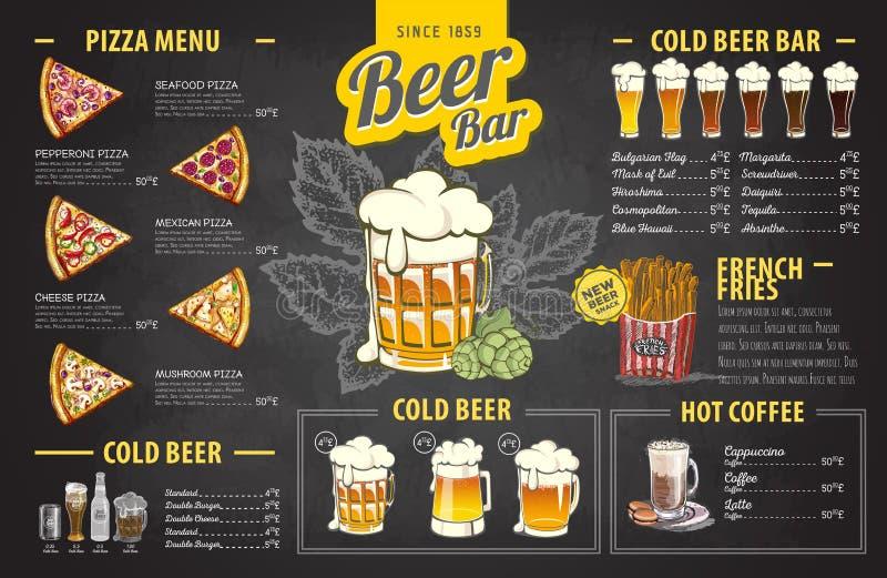 Progettazione d'annata del menu della birra del disegno di gesso Il pranzo di cerimonia nuziale con la carne del rullo ha fumato  illustrazione vettoriale