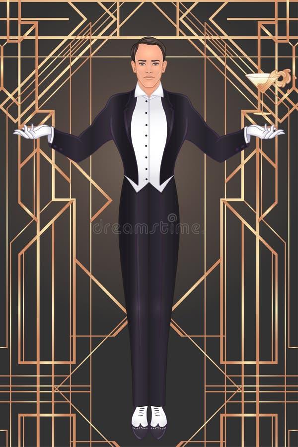 Progettazione d'annata del modello dell'invito di Art Deco con l'illustrazione dell'uomo Grande Gatsby ha ispirato Modelli e stru illustrazione di stock