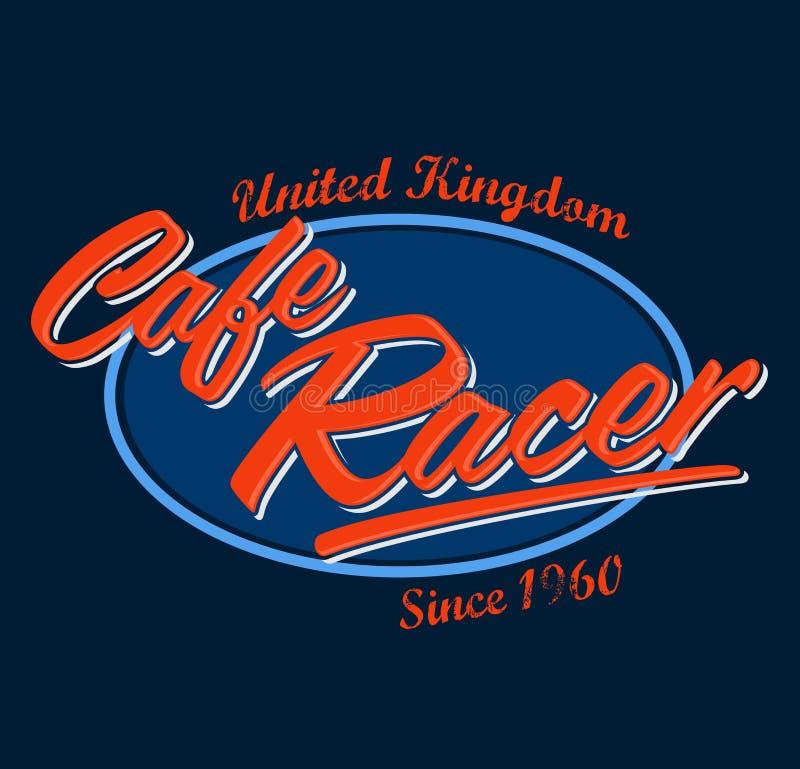 Progettazione d'annata del motociclo del corridore del caffè, vettore che segna emblema con lettere royalty illustrazione gratis
