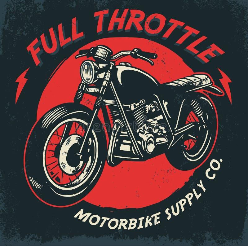 Progettazione d'annata del motociclo del disegno della mano royalty illustrazione gratis