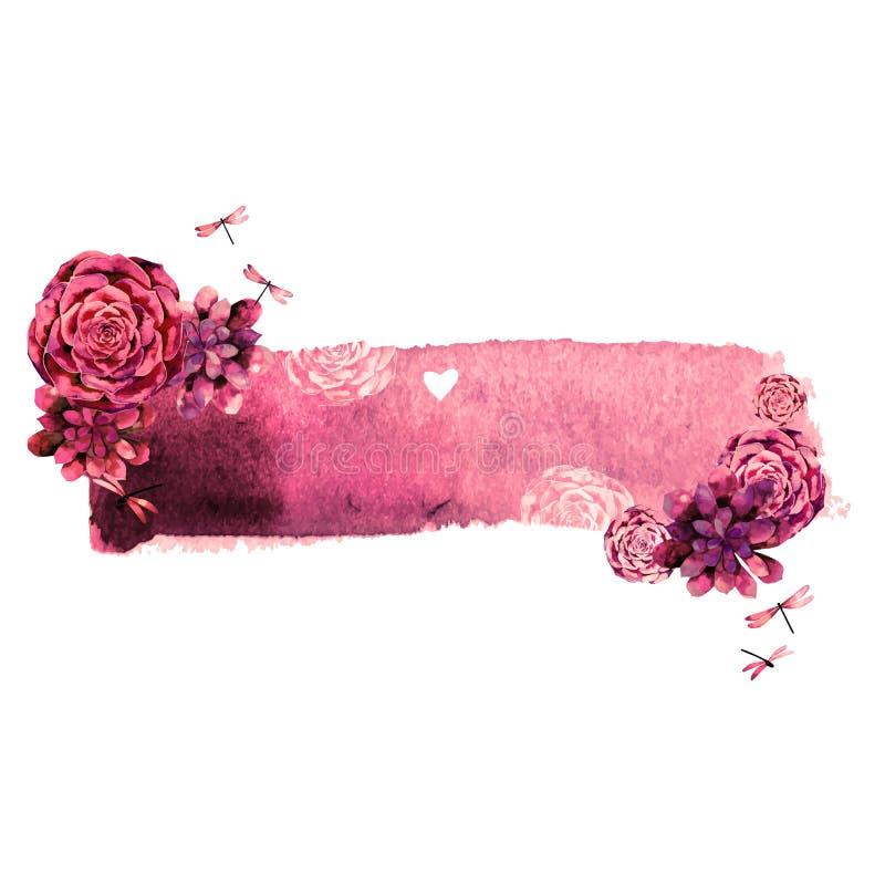 Progettazione d'annata dell'acquerello con i succulenti illustrazione di stock