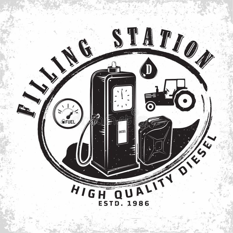 progettazione d'annata dell'emblema della stazione di servizio immagini stock libere da diritti