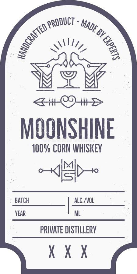 Progettazione d'annata dell'etichetta della bevanda dell'alcool con gli elementi etnici nella linea stile sottile illustrazione vettoriale