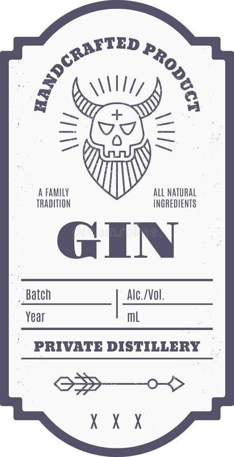 Progettazione d'annata dell'etichetta della bevanda dell'alcool con gli elementi etnici nella linea stile sottile illustrazione di stock