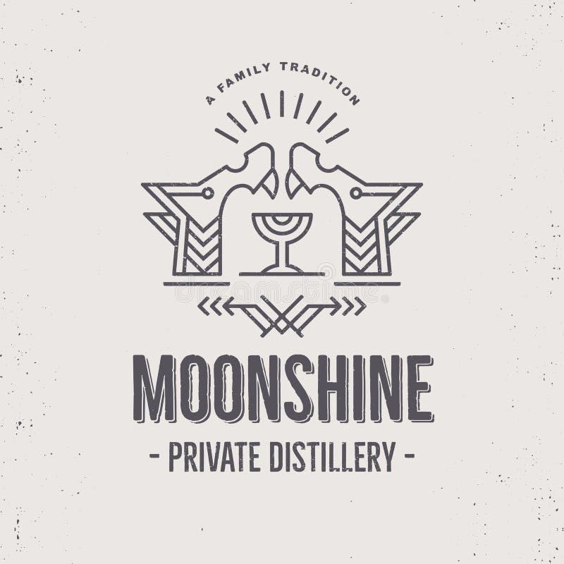 Progettazione d'annata dell'etichetta della bevanda dell'alcool con gli elementi etnici nella linea stile sottile royalty illustrazione gratis