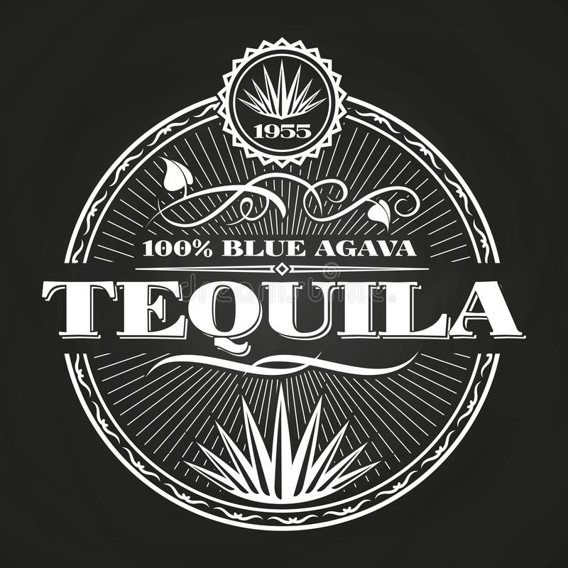 Progettazione d'annata dell'insegna di tequila sulla lavagna royalty illustrazione gratis
