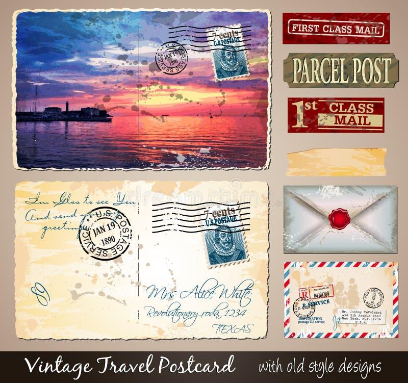 Progettazione d'annata della cartolina di viaggio con lo sguardo antico illustrazione di stock