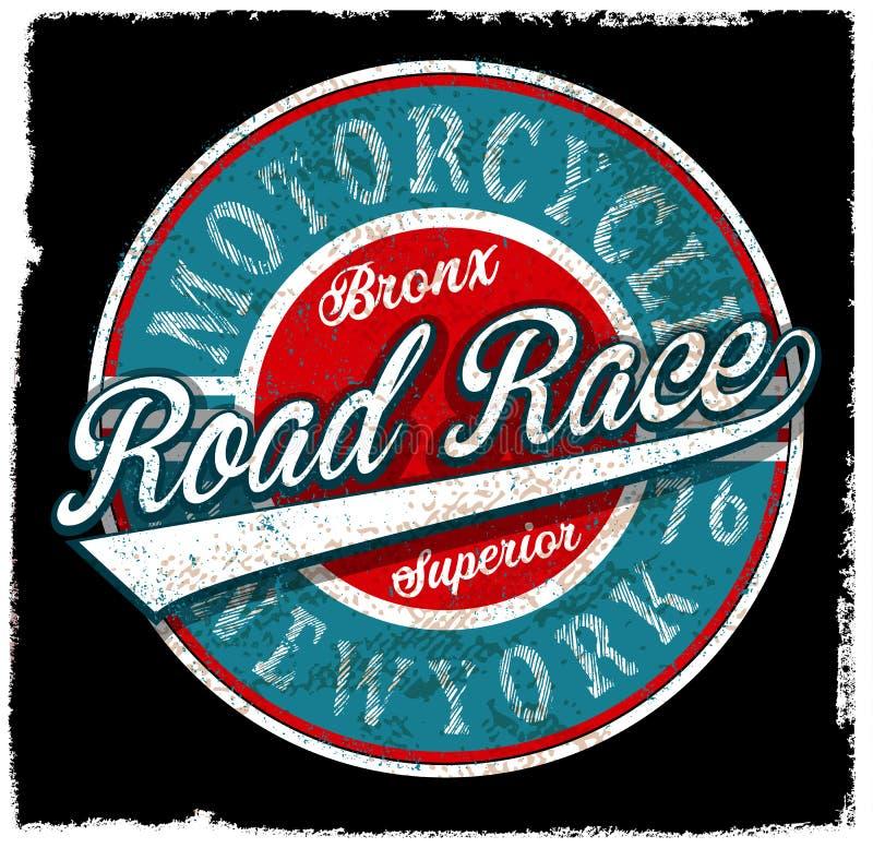 Progettazione d'annata della maglietta dell'emblema di logo del motociclo royalty illustrazione gratis