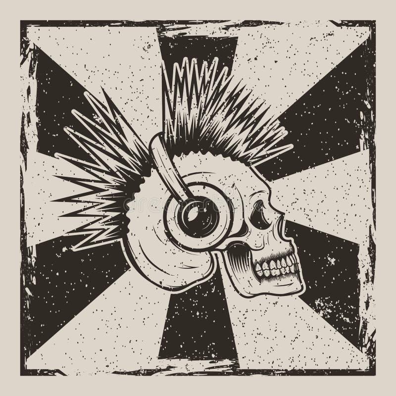 Progettazione d'annata di lerciume di vettore di vista laterale di musica del cranio illustrazione di stock