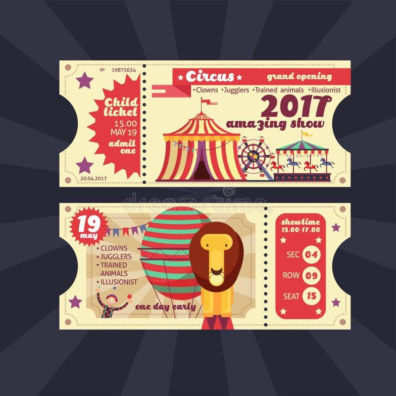 Progettazione d'annata di manifestazione del circo di vettore magico del biglietto illustrazione di stock
