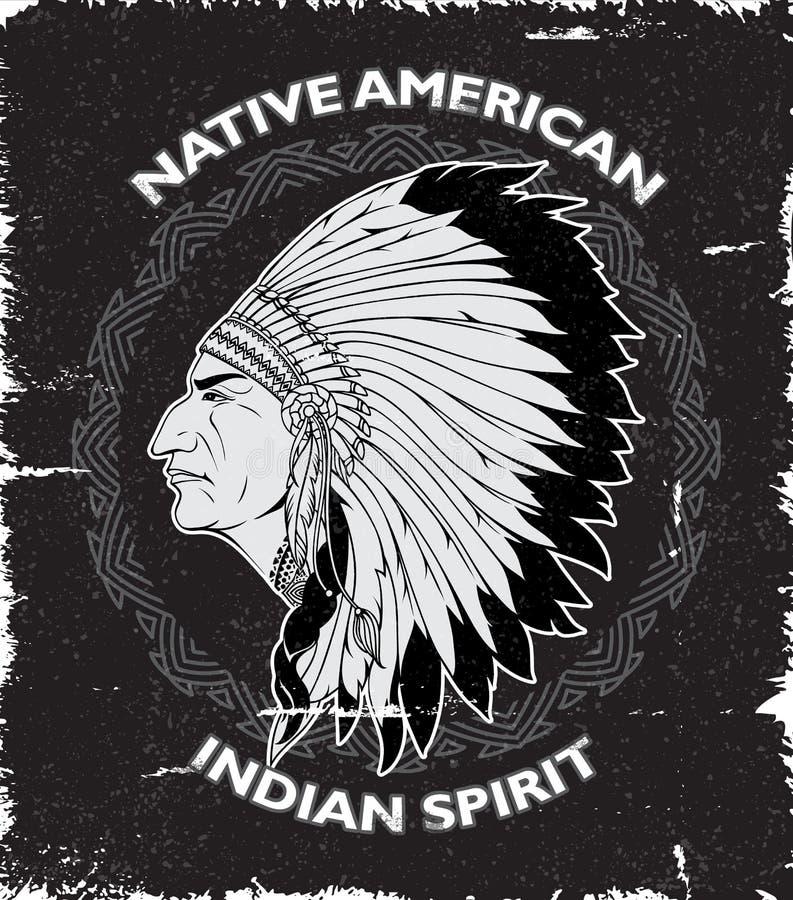 Progettazione d'annata di spirito del nativo americano illustrazione vettoriale