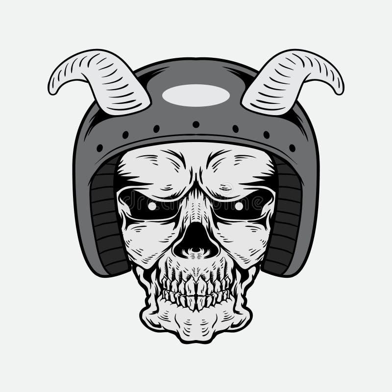 Progettazione d'annata di vettore del cranio con il casco immagine stock