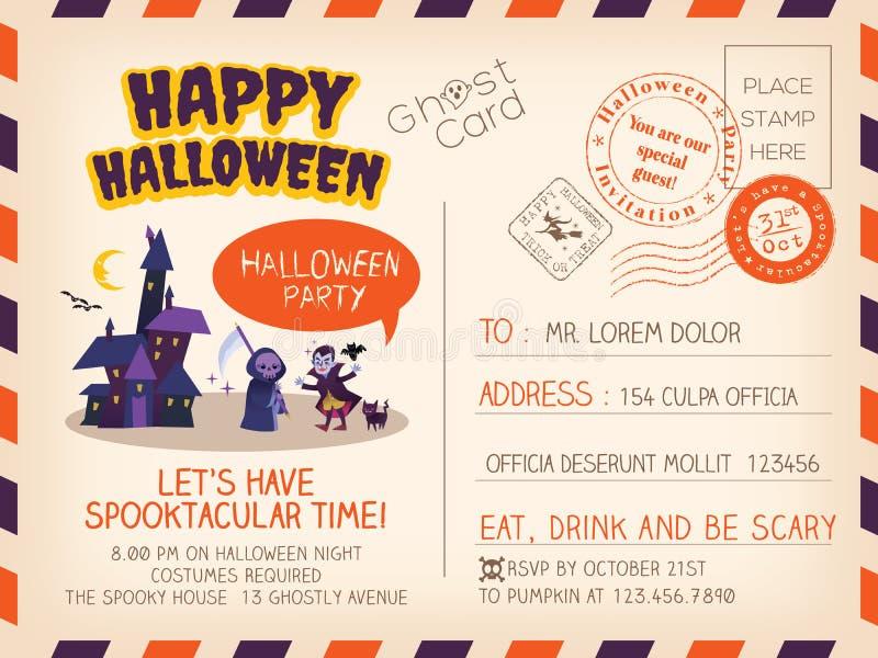 Progettazione d'annata felice del fondo dell'invito della cartolina di Halloween illustrazione di stock