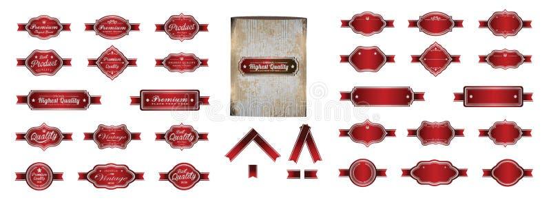 Progettazione d'annata premio d'argento rossa di lusso di vettore delle etichette illustrazione di stock