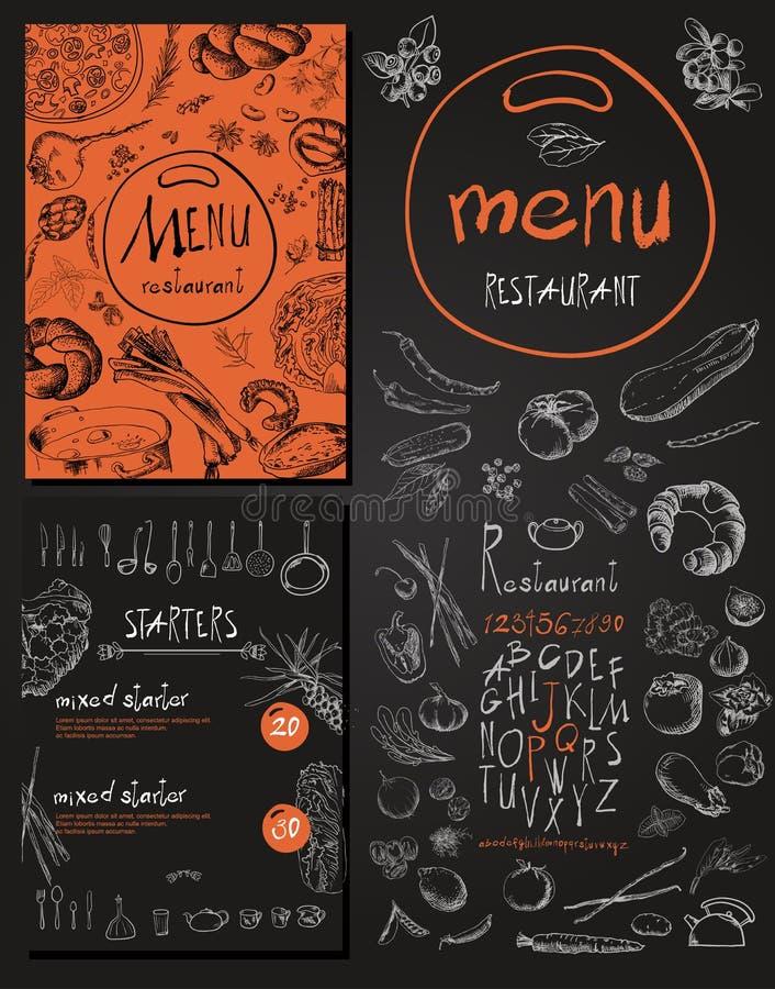 Progettazione d'annata stabilita del menu dell'alimento del ristorante con la lavagna illustrazione vettoriale