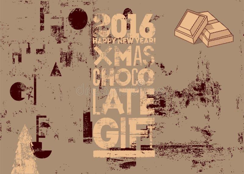 Progettazione d'annata tipografica del manifesto del regalo del cioccolato di Natale Retro illustrazione di vettore di lerciume royalty illustrazione gratis