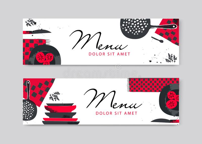 Progettazione d'approvvigionamento dell'aletta di filatoio dell'opuscolo di vettore Cucina disegnata a mano artistica, insegne or illustrazione di stock