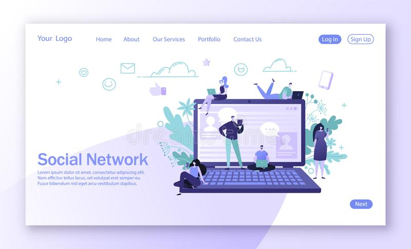 Progettazione d'atterraggio della pagina sul tema sociale della rete di media Comunicazione dei caratteri della donna e dell'uomo illustrazione vettoriale