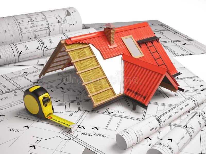 Progettazione 3d dei tetti su un fondo dei disegni for Programmi progettazione 3d