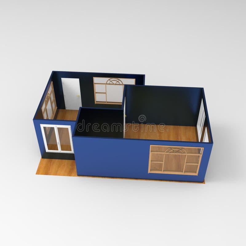 progettazione 3D di spazio domestico che rende i risultati dall'applicazione del miscelatore royalty illustrazione gratis