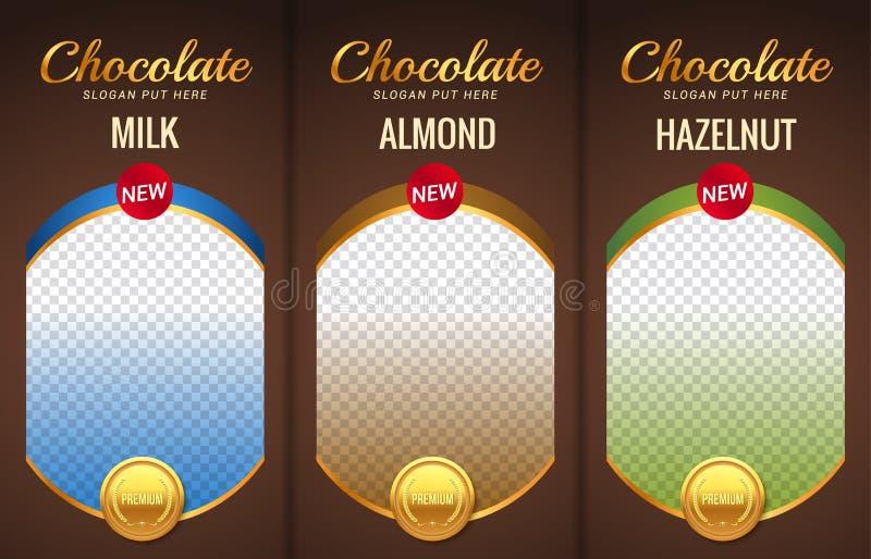 Progettazione d'imballaggio del modello della barra di cioccolato Modello marcante a caldo del prodotto del cioccolato Pacchetto  illustrazione vettoriale
