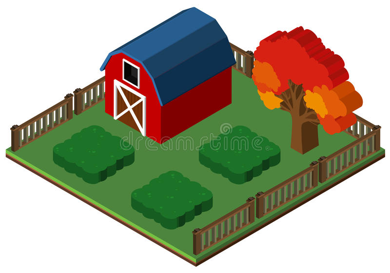 progettazione 3D per il granaio ed il giardino rossi illustrazione vettoriale
